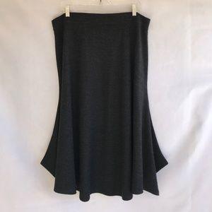 Eileen Fisher Midi Skirt Wool Elastic Waist Gray L
